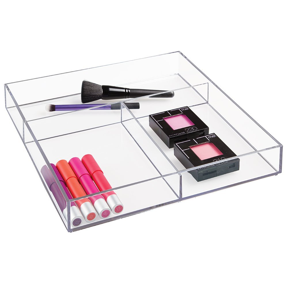 Clarity Plastic Cosmetic Drawer Organizer for Vanity Cabinet to Hold Makeup, acrylic makeup serving tray
