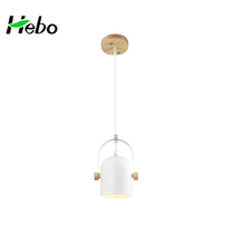 Adjustable modern white iron chandeliers pendant lights with wooden plant