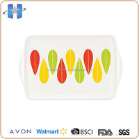 10 inch Plastic Melamine Dessert Tray With Two Handle