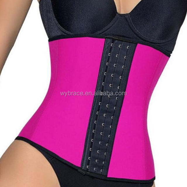 luxury Pink Latex Waist Cincher Latex Rubber Women Waist Trainer Cincher Underbust Corset Bustiers Body Shaper