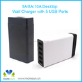 EU/US/UK/AU plug 5 Ports 40W Smart Fast Charger High Power Fast Charging USB Travel Wall Charger