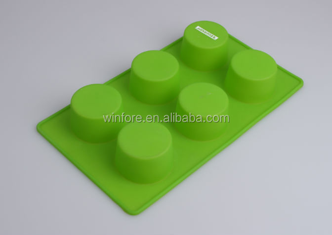 Colorful 6pcs round silicone cake mould