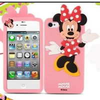 soft silicone cell phone rubber cover cute cartoon 3D Minnie Mouse case for iphone 4s