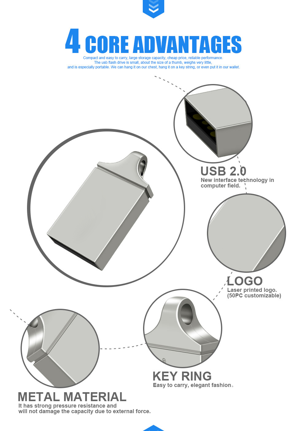High Quality bulk cheap Usb 3.0 Key U disk 32GB Flash Memory Usb Mini Metal USB Flash Drives