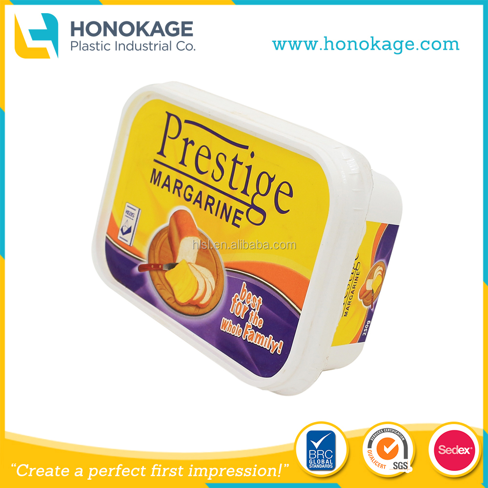 250g IML Rectangle Margarine Container, Soft Tub Margarine with Food Grade Packaging Supplier