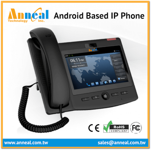 Enterprise Level HD Voice 6 SIP IP Video Android Desktop Phone