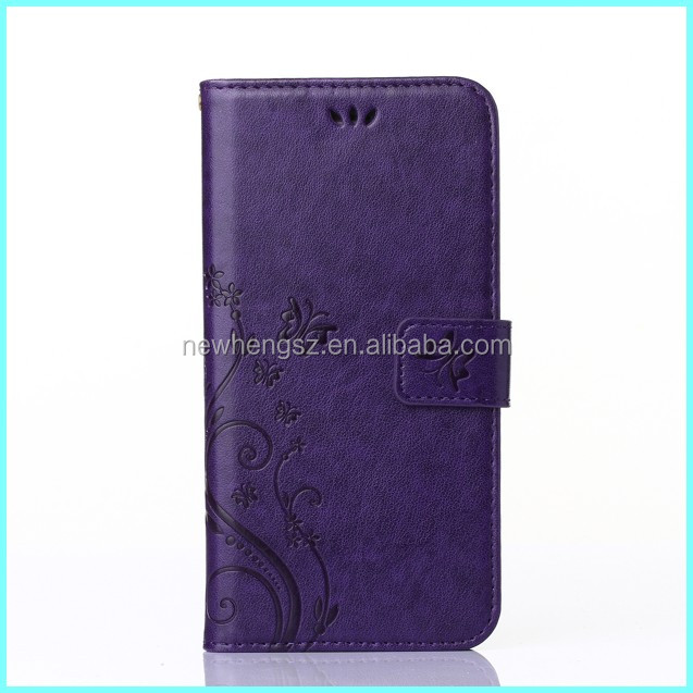 High quality emboss design wallet leather cell phone case for iphone 6s
