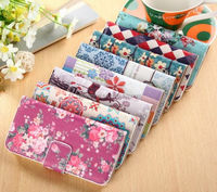 Colored Flower PU wallet leather case cover for iphone 5G 5S