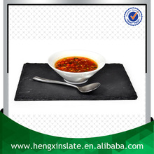 Factory Direct Price Natural Edge 20*12*0.5cm Small Rectangle Black Slate Plate Stone Plate Slate Cheese Board With Eva Feet