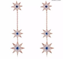Fashion design hanging silver color long chain star earrings