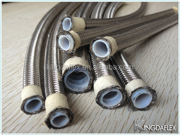 Chemical resistant teflon hose with stainless steel wire braiding