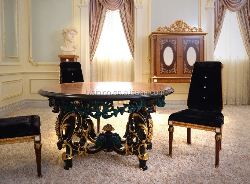 French Fabulous Marquetry Round Dining Table For 6 People/ Palace Antique Wooden Carving Pecock Green Dining Room Furniture