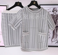 High quality knitted sweater women twin set with black and white geometric pattern, contain knit top and dress
