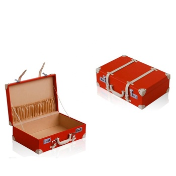 Custom Decorative Durable Red Luggage Kids Wooden Leather Suitcase