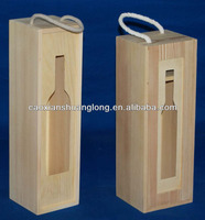 Hot sale sliding lid bottle shape wine packing wooden box with handle rope