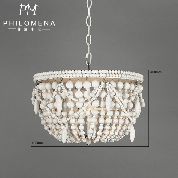 White rustic color wooden beads chandelier with wooden pendant lamp with UL/CE