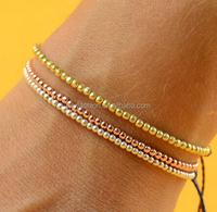 Modern 3 tone rose gold silver beads macrame braided waxed cotton cord friendship Bracelet
