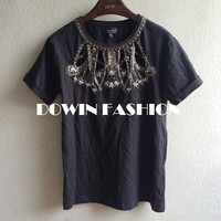 2015 t shirt wholesale china hollow out metal beaded acrylic collar women tshirt