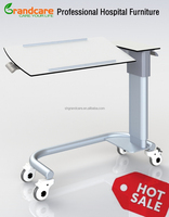 Medical Bedside Dining Table With Elevator,Rotating Table-top and Lockable Wheels