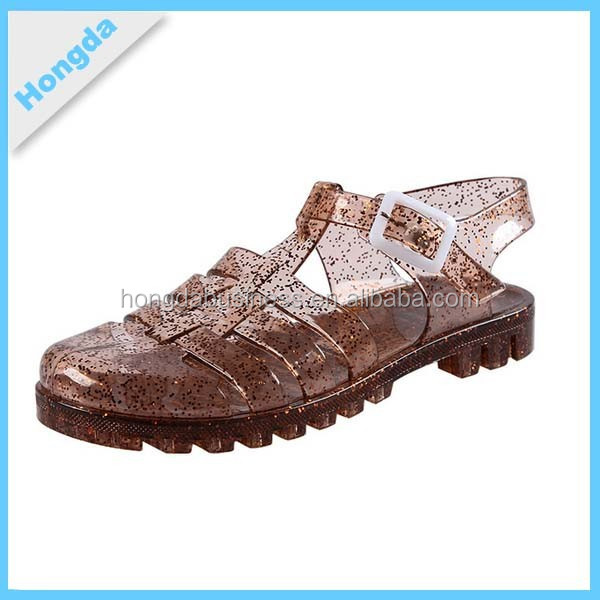 Brown Glitter Buckle Crystal Pvc Jelly Sandals Clear