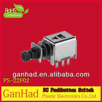 PS22F02 6 pin DC push button switch