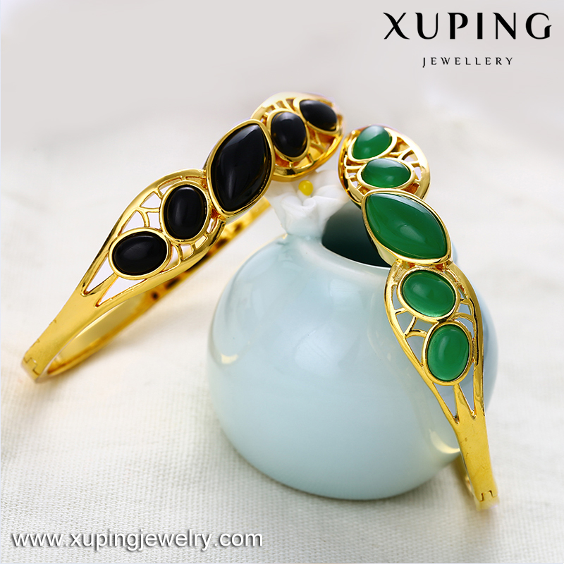 xuping fine jewelry newest design 24K gold plated brass malaysian jade bangle for women