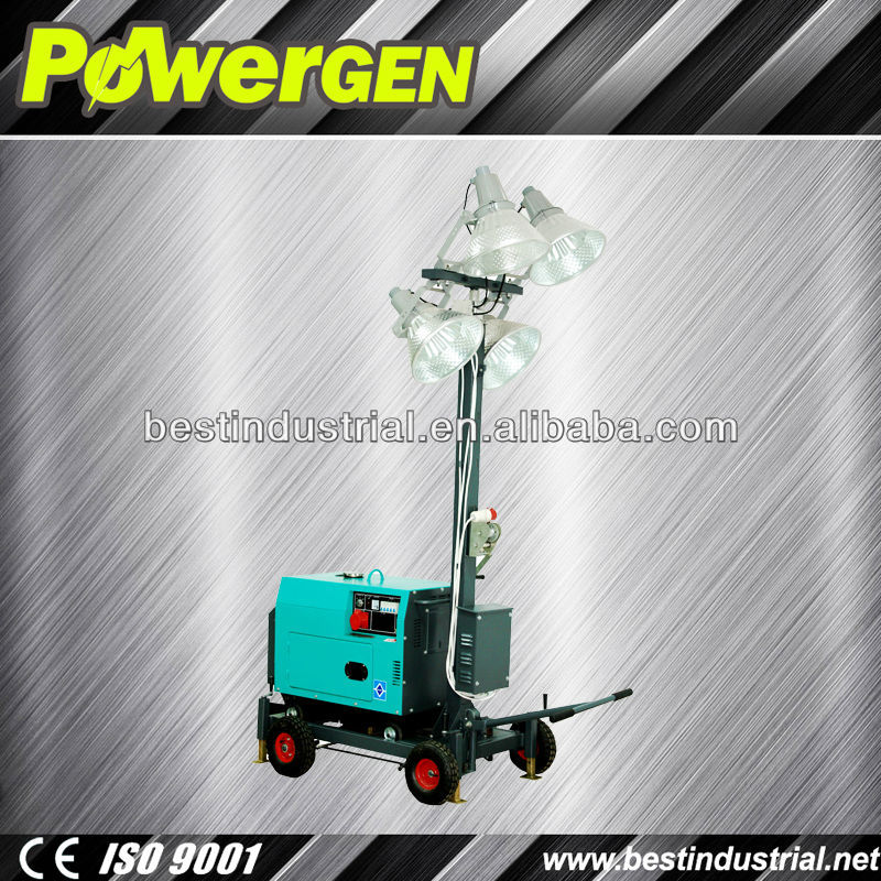 Hot sale!!! POWER-GEN 4 lights 5KW Diesel Construction Light Tower