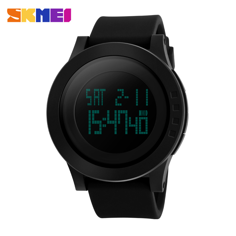 Classic gift couple watch sports mens black watches,Silicone led Chronograph watch