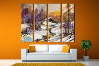4 piece decor art set classic Cold winter mountain village Landscape hand painted Oil Painting on Canvas for living room