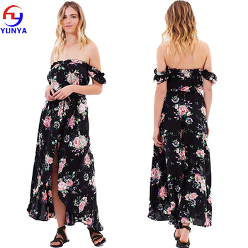 New design women fancy black 100% rayon off shoulder floral print chiffon long maxi dress