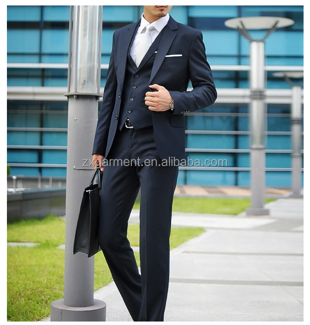 Men's One Button Stretch Performance Solid Business Suit
