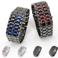 2015 Watch men blue LED Lava watches Faction Samurai Metal LED Faceless Bracelet watch Wholesale