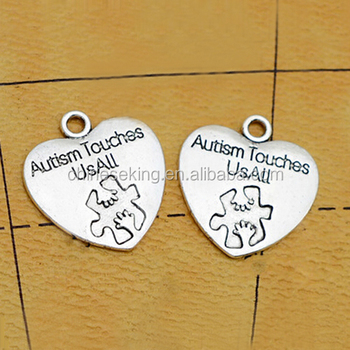 heart puzzle charm pendant custom words engraved puzzle charm Puzzle Autism Awareness Charm Connector