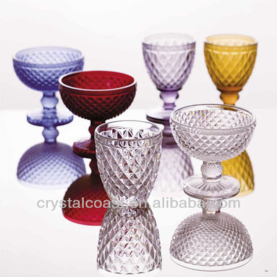wholesale crystal czech republic diamond shape wine glass; wedding champagne cup; imitation party glassware
