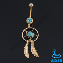 Gold anodized dreamcatcher gem star feathers belly navel piercing