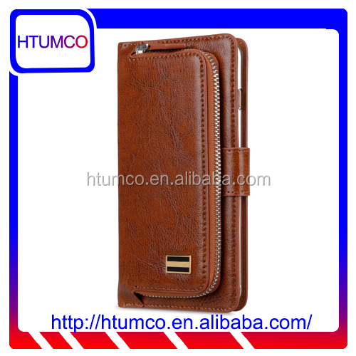 "Folio Brown Mobile Phone Cover Genuine Leather Case Wallet Case for Apple iPhone 7 Plus(5.5"")"