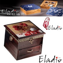 Eladio handmade stand up jewelry wooden divided box with mirror