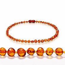 Best gift for baby amber Teething necklace baroque baltic Cognac amber necklace for babies