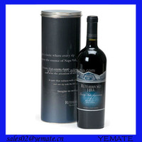 Paper tube round custom logo printed wine box for 375ml bottle with lid