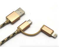 2 in 1 high speed noodle charger data usb line cable jumper for micro and iPhone