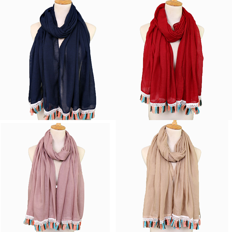 Hot selling women fashion design solid color plain shawl hijab muslim pashmina cotton hijab with colorful tassel