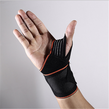 Adjustable polyester fibre elastic lace up open wrist thumb palm support brace hand sprot protector
