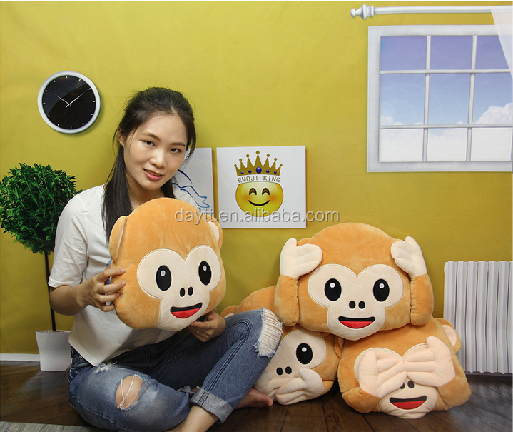 Top Quality Whatsapp Emoji Pillow Shaped <strong>Monkey</strong> No See,No Hear,No Talk,No Hand <strong>Monkey</strong> Soft Toy
