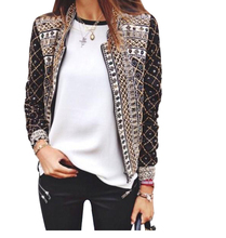 Walson 2015 hot sales new fashion thin printed elastic collar long sleeve women slim jackets pattern