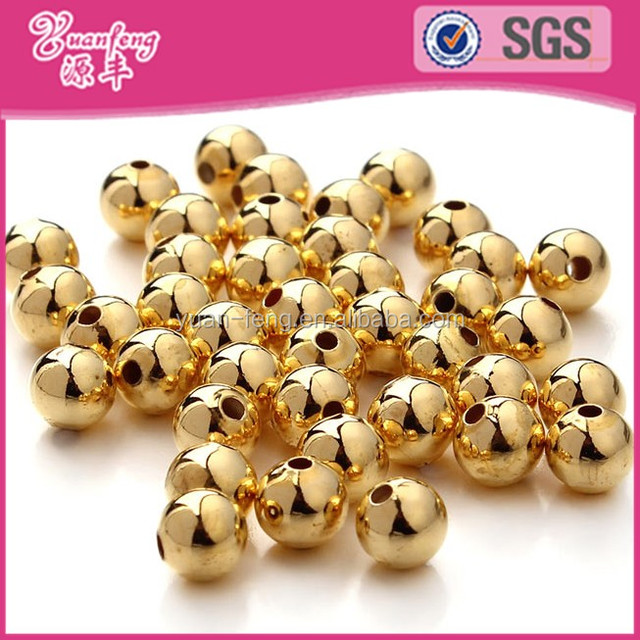8mm fashion jewelry gold plating plastic beads for bracelet gold plated