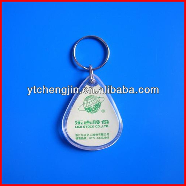 Water shaped with logo inside promotion acrylic key chain