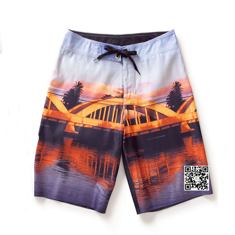 4 Way Stretch Fabric Printed Boardshorts With Printed Label