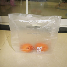 Orange plastic die cut handle bag, fruit plastic die cut handle bag