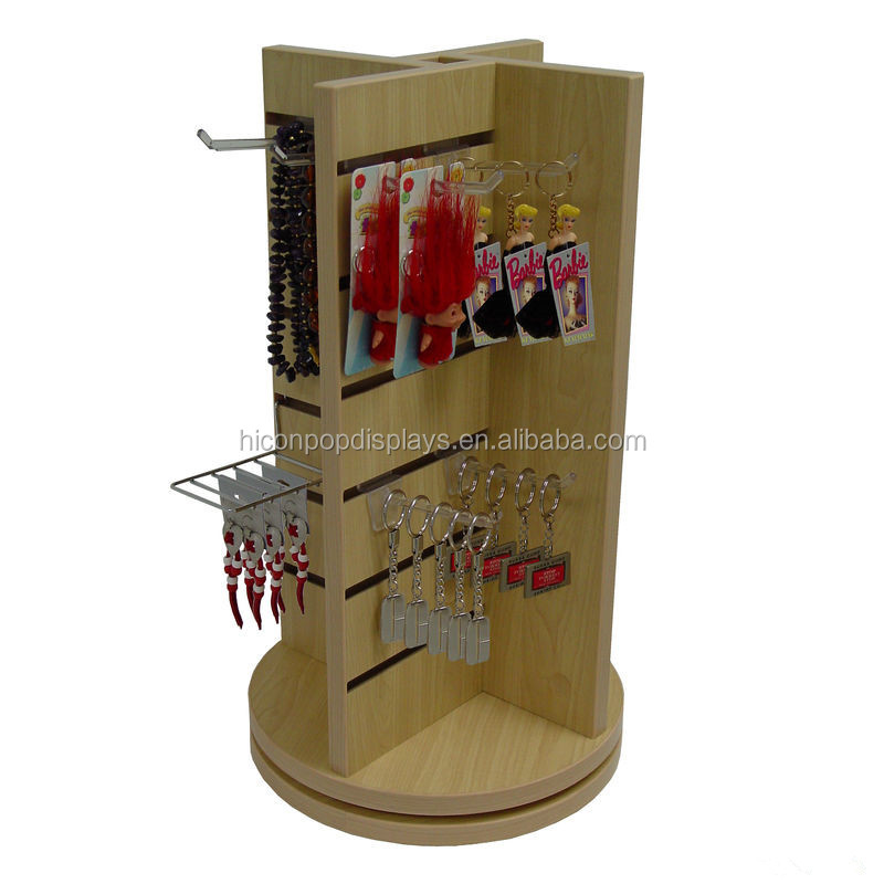 Fashion Accessories Retail Store Advertising Unit Countertop Wood Revolvling Slatwall Display Tower