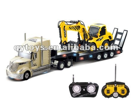 1:32 6 Channels RC Heavy Trailer with 1:20 6 Channels RC Construction Excavator Truck RC Tractor Trailer Trucks